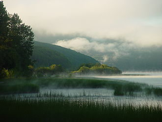 Burns Lake - Early morning mist on Burns Lake