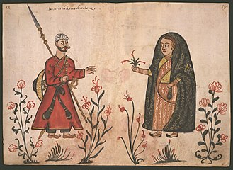 Siege of Diu - Portuguese depiction of a Gujarati foot-soldier (and his wife)