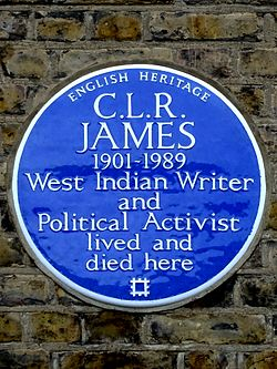 C.l.r. james 1901 1989 west indian writer and political activist lived and died here