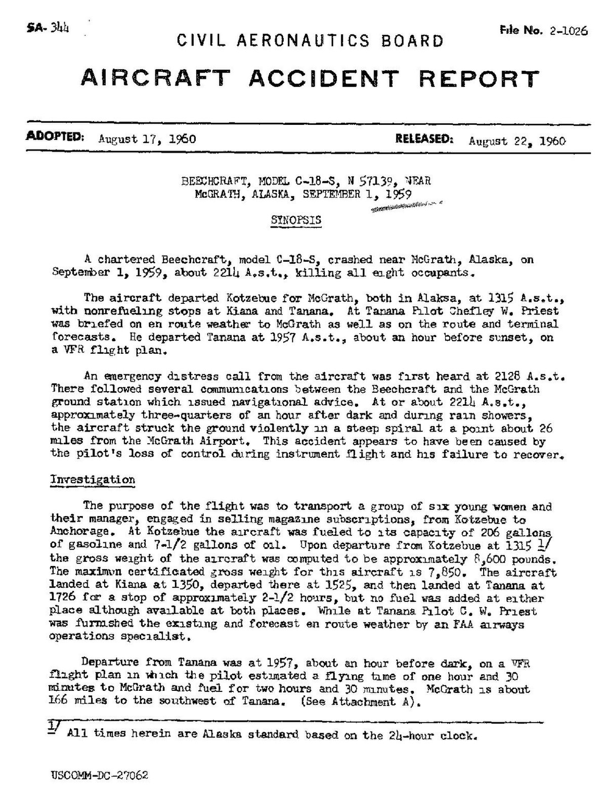 File:CAB Accident Report, Beechcraft C-18-S on 1 September 1959 ...