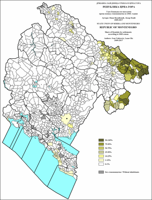 Bosniaks of Montenegro - Share of Bosniaks in Montenegro by settlements 2003.