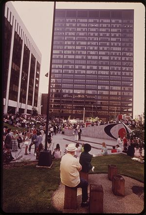1100 Superior - The Diamond Shamrock Building (now 1100 Superior) rises behind Chester Commons (now Perk Park) in 1973