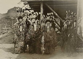 Native Indonesians - A troupe of Bahau Dayak performers during the Hudoq festival (Harvest festival) in Samarinda, the Residency of South and East Kalimantan, Indonesia. (Taken c. 1898–1900)