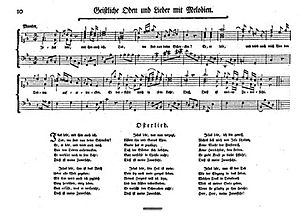 Gellert Odes and Songs - A page from the 1771 edition of Geistliche Oden und Lieder, showing the typical length and notation of the lieder of the collection.