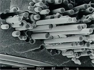 Ceramic matrix composite - Fracture surface of a fiber-reinforced ceramic composed of SiC fibers and SiC matrix. The fiber pull-out mechanism  shown is the key to CMC properties.