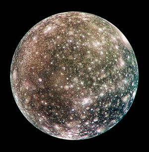 Callisto (moon) - Callisto's anti-Jovian hemisphere imaged in 2001 by NASA's Galileo spacecraft. It shows a heavily cratered terrain. The large impact structure Asgard is on the limb at upper right. The prominent rayed crater below and just right of center is Bran.