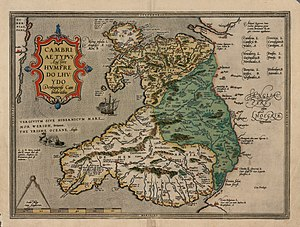 Humphrey Llwyd - A 1574 version of Humphrey Llwyd's 1573 map of Wales, Cambriae Typus