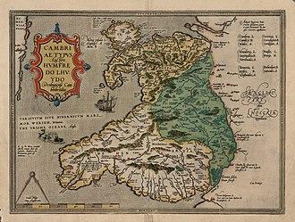 Humphrey Llwyd - A 1574 version of Humphrey Llwyd's 1573 map of Wales, Cambriae Typus