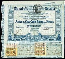 Share Of The Compagnie Univere Du C Interocéanique De Panama Issued 29 November 1880 Signed By Ferdinand Lesseps