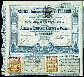 Ferdinand de Lesseps - Share of the Compagnie Universelle du Canal Interocéanique de Panama, issued 29. November 1880 - signed by Ferdinand de Lesseps