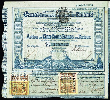 Share of the Compagnie Universelle du Canal Interoceanique de Panama, issued 29. November 1880 - signed by Ferdinand de Lesseps Canal Interoceanique de Panama 1880.jpg