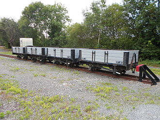 Capel Bangor railway station - A row of open trucks in a siding at Capel Bangor railway station.