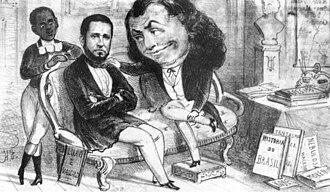 Joaquim Manuel de Macedo - A caricature of Joaquim Manuel de Macedo, who is depicted between a boy and Dr. Semana (Dr. Week), the mascot of Semana Illustrada (Illustrated Week) magazine