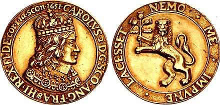 Cast gold coronation medal of Charles II, dated 1651 Cast gold medal of Charles II Stuart.jpg