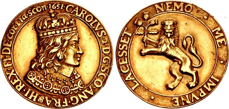 Cast gold medal of Charles II Stuart