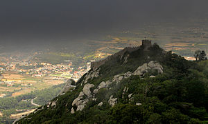 Castle of the Moors - The Moorish Castle in the fog, overlooking the historic town of Sintra