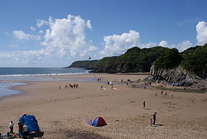 Caswell Bay - Caswell Bay, a beach as part of the Gower Peninsula, Swansea, in August 2008.