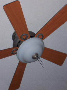 A Hunter Branded Eclipse Which Is Basic Modern Ceiling Fan With Standard Pull Chain Controls For The Motor And Light Kit