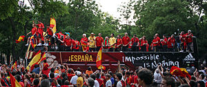 Sport in Spain - Spain national football team celebrating its victory at the UEFA Euro 2008 Championship in Madrid.