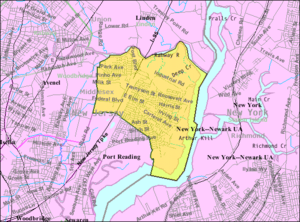 Carteret, New Jersey - Image: Census Bureau map of Carteret, New Jersey