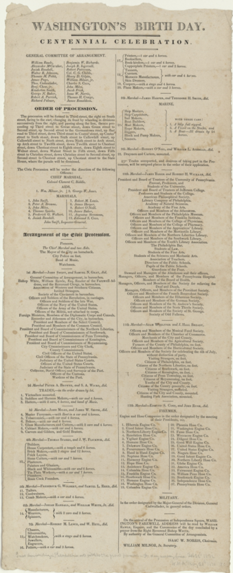 Procession of events for the centennial celebration of Washington's birth day, Philadelphia, February 1832