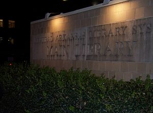 Central Arkansas Library System - Sign outside the Main Library in Little Rock