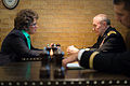 Chairman of the Joint Chiefs of Staff U.S. Army Gen. Martin E. Dempsey, background right, talks with U.S. Rep. Jackie Walorski at Morris Inn in South Bend, Ind., Sept 140906-D-KC128-073.jpg