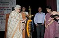 "Chandresh Kumari Katoch lighting the lamp to inaugurate the Volunteer Guide Programme ""Path Pradarshak"" of National Museum, in New Delhi. The Secretary Culture.jpg"