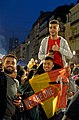 Cheering for Belgium during Euro 2020 with a We Are One Belgian flag in Brussels.jpg