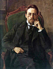 Anton Pavlovich Chekhov. Oil on canvas by Osip Braz, 1898. From the collection of the Tretyakov Gallery.