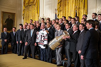 2012–13 Chicago Blackhawks season - Image: Chicago Blackhawks at White House 2013