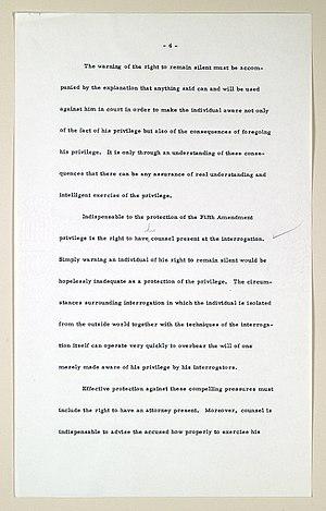 "Miranda warning - Page of the manuscript written by Chief Justice Earl Warren regarding the Miranda v. Arizona decision. This page established the basic requirements of the ""Miranda warning""."