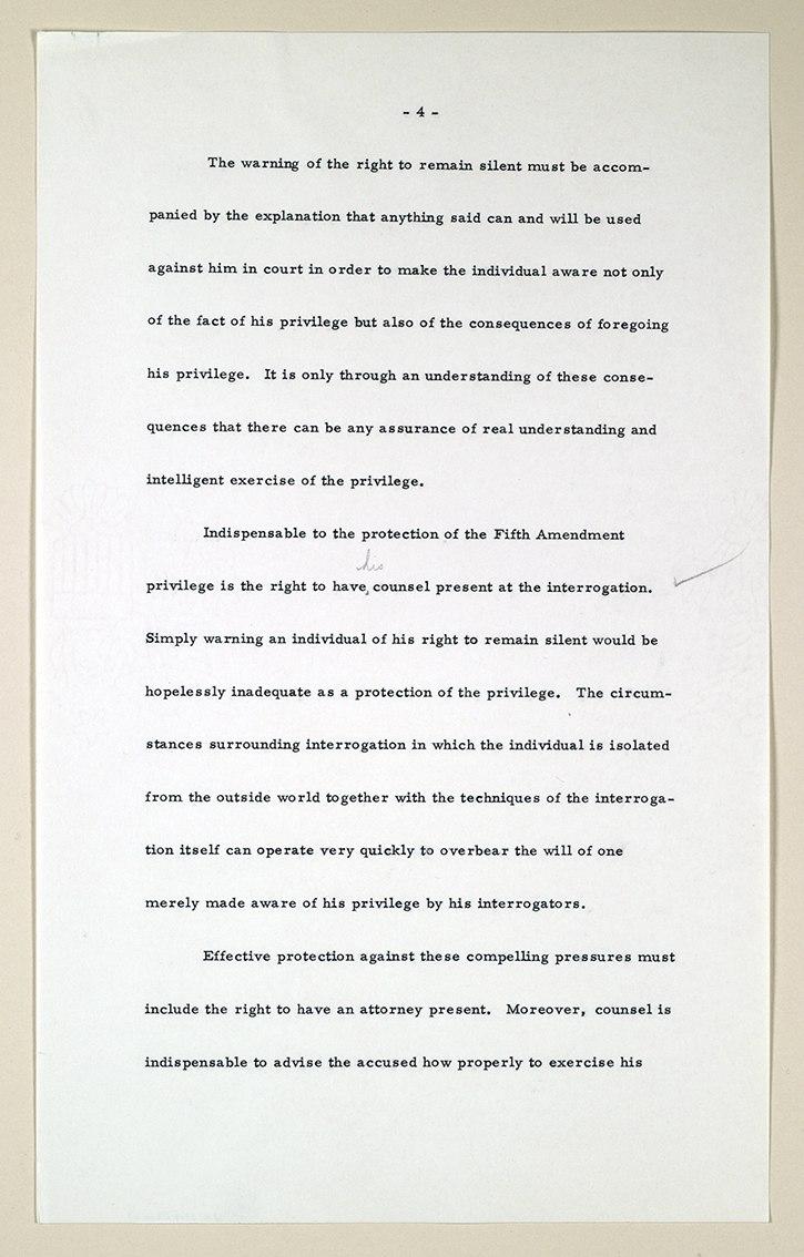 Chief Justice Earl Warren - Miranda v. Arizona (1966)