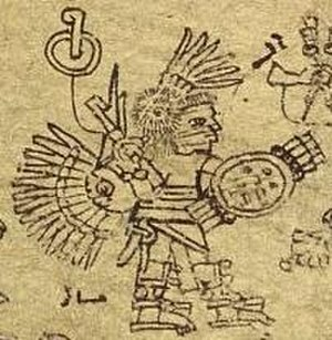 Huitzilopochtli - The Aztec emperor Chimalpopoca in Huitzilopochtli costume, from the Codex Xolotl