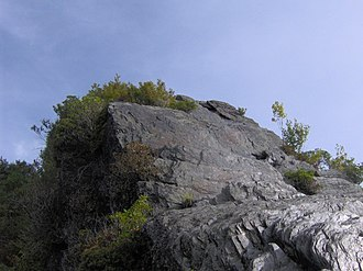 Chimney Tops - Folded metamorphic rock characterizes the capstones of Chimney Tops.