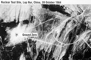 596 (nuclear test) - Satellite image of the Lop Nur test site taken by an American KH-4 Corona intelligence satellite on October 20, 1964, 4 days after the 596 test.