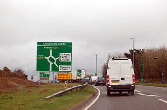 Roundabout - Traffic approaching Chiverton Cross roundabout in Cornwall, UK