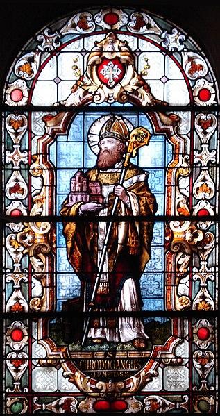 Den hellige Chrodegang av Metz, glassmaleri i kapellet Sainte-Glossinde i Metz