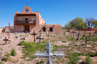 San Ildefonso Pueblo, New Mexico - Church and cemetery at San Ildefonso Pueblo