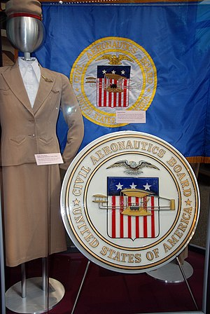 United States government role in civil aviation - Seal and flag of the defunct Civil Aeronautics Board on display in the National Air and Space Museum