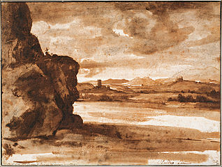 Tiber Landscape North of Rome with Dark Cloudy Sky