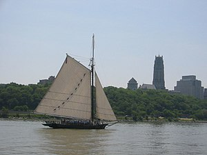 Hudson River Sloop Clearwater - Clearwater sailing south, past Manhattan's Grant's Tomb and Riverside Church