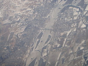 Clinton, Iowa - View of Clinton on the left side of the Mississippi river and its neighbor, Fulton, Illinois on the right side of the river as seen from 35,000 feet