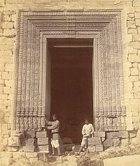 Close view of doorway in the eastern façade of the mandapa of the Surya Temple or Black Pagoda, Konark - Orissa 1890.jpg