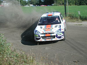Colin McRae - McRae with a Ford Focus WRC at the 2001 Rally Finland.