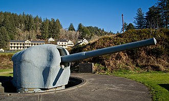 Naval Station Argentia - 6-inch gun M1905 from Fort McAndrew on shielded barbette carriage at Fort Columbia State Park, Washington state