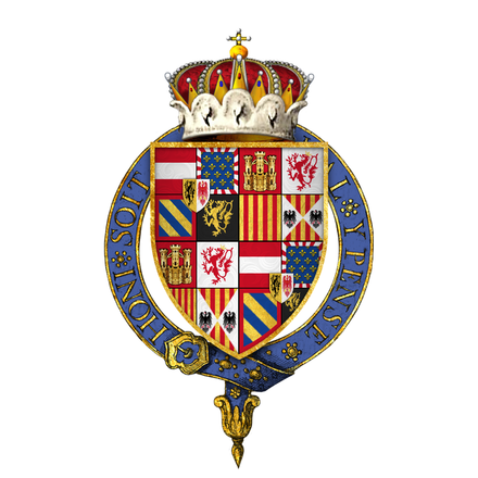Arms of Ferdinand, Infante of Spain and Archduke of Austria, KG, at the time of his installation as a knight of the Most Noble Order of the Garter
