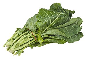 English: A bundle of collard greens, from an o...