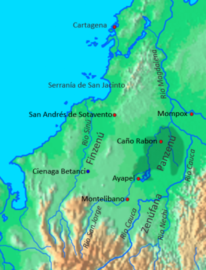 Zenú - Caribbean area where the Zenú culture developed between 200 BCE and 1600 CE. The grey area is the inland delta where most of the Zenú irrigation and drainage works were constructed.