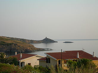 Tresnuraghes - The Tower of Columbargia as seen from Porto Alabe, a località in the Comune of Tresnuraghes